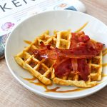 Recipe for breakfast waffles with bacon and syrup