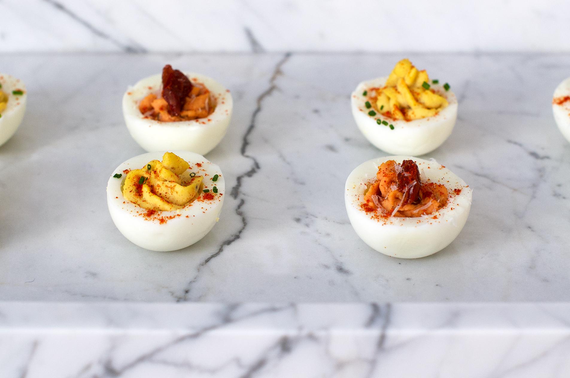 Recipe for classic devilled eggs and tomato and pecorino devilled eggs