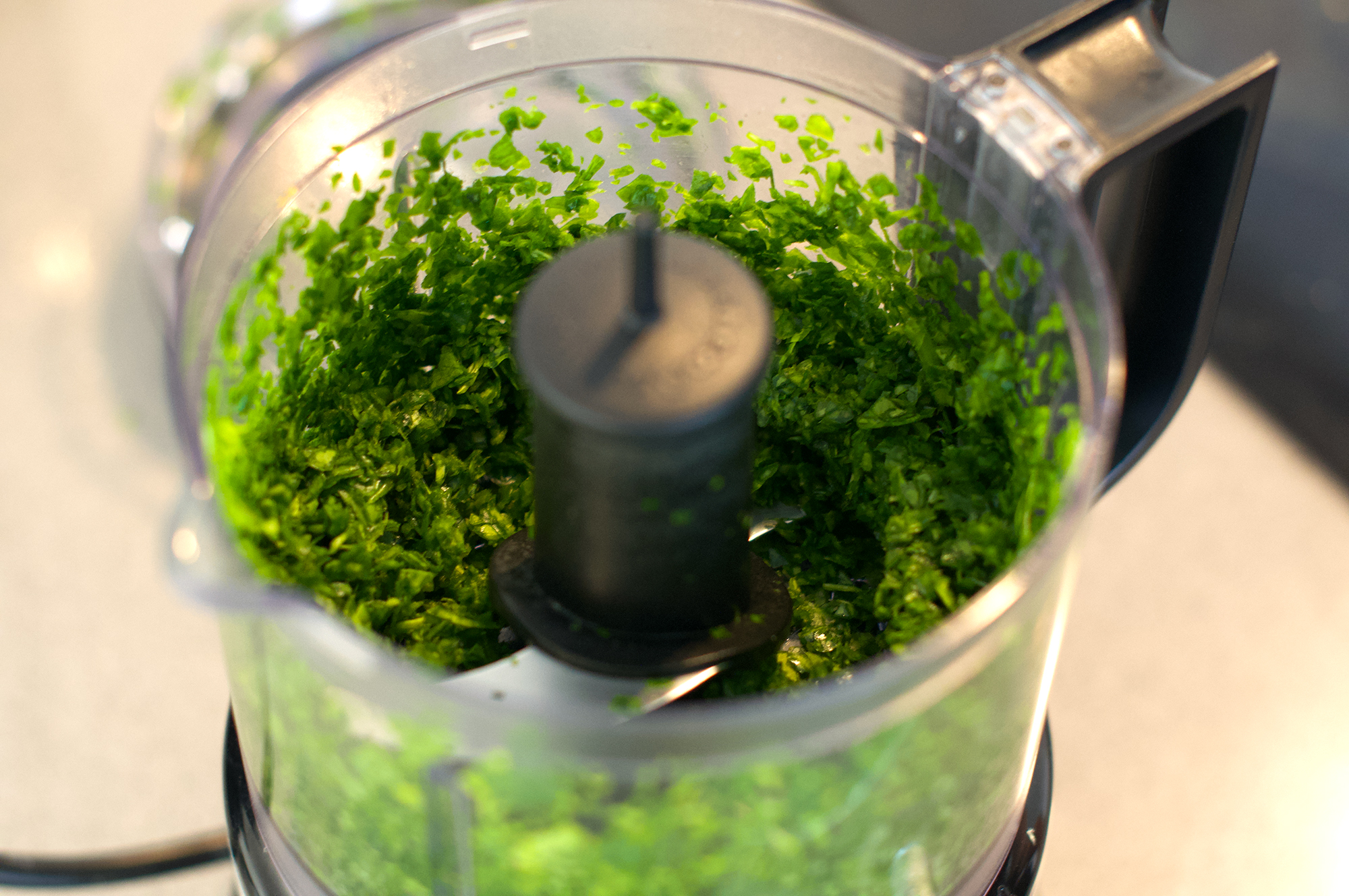 Spinach in KitchenAid mini chopper
