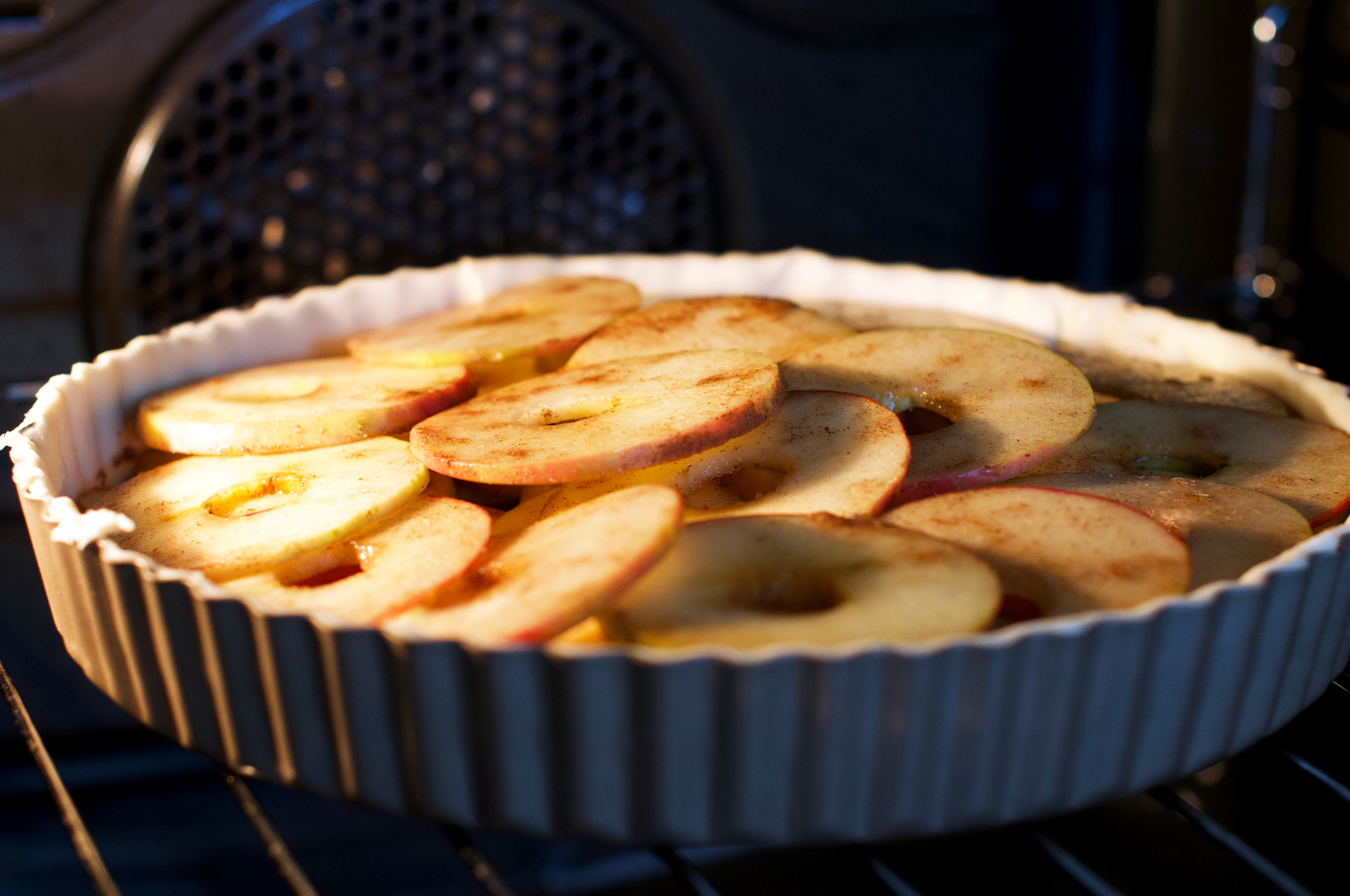 Puff pastry apple tart in the oven