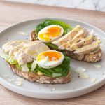 Chicken asar salad and dressing with egg on toast recipe