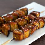 Honey and soy glazed aubergine skewers recipe