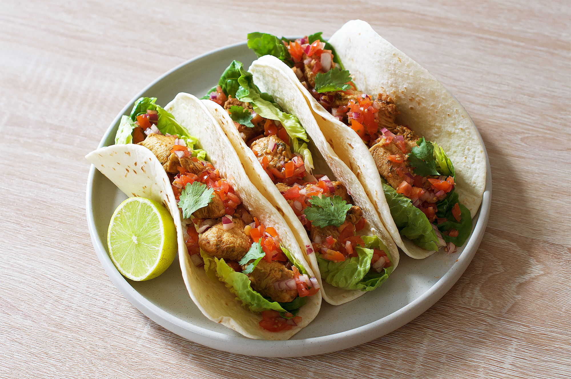 Lime chicken and coriander tacos recipe